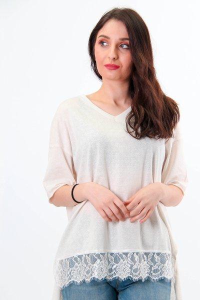 Beli Dantel Detaylı Bluz 23650