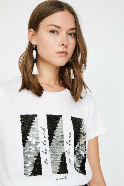 Koton Ekru T-shirt 9yak13361ek