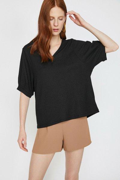 Koton Siyah T-shirt 9yak13388ek