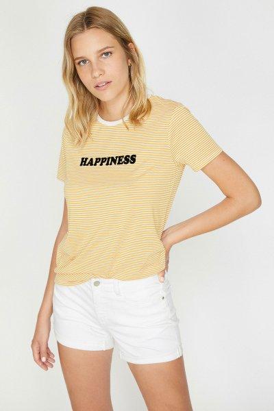Koton Sarı Çizgili T-shirt 9yal18487ok