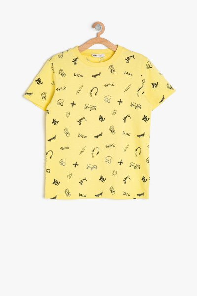 Koton Sarı Desenli T-shırt 9ykb16097ok