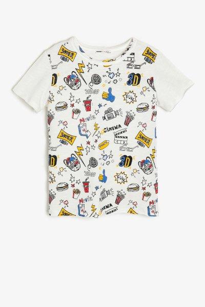 Koton Beyaz Desenli T-shirt 9ykb16931tk