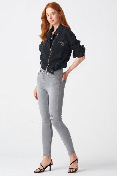 7093 Dilvin Orta Bel Gri Pantolon