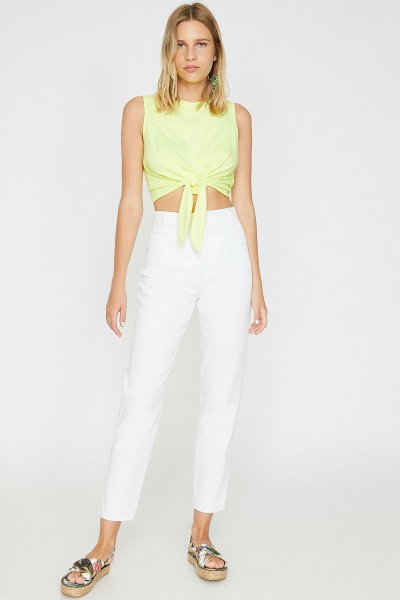 Koton Beyaz Pantolon 9yak43006mw
