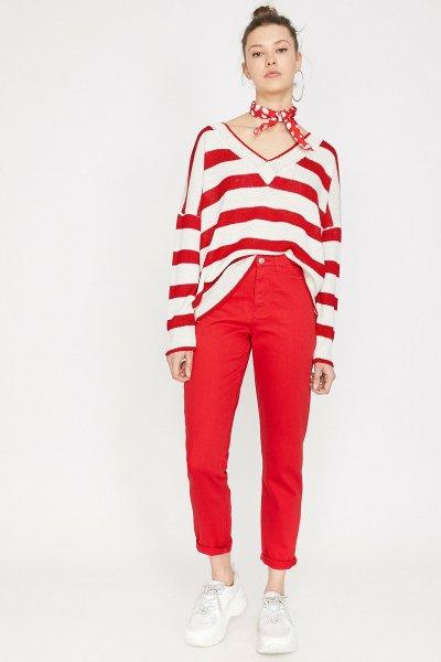 Koton Kırmızı Pantolon 9yal41991mw