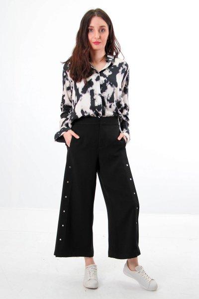 7839 Dilvin Geniş Paça Yandan Droplu Pantolon