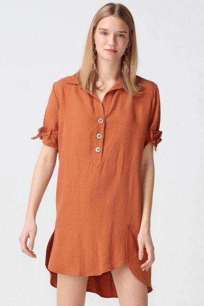 9956 Dilvin Kol Bağcıklı Patlı Elbise