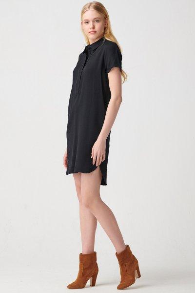 9944 Dilvin Saten Şeritli Patlı Gömlek Elbise
