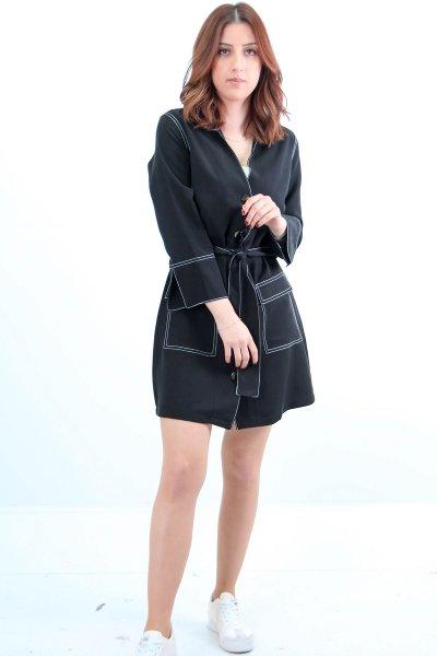 9960 Dilvin Kolları Yurtmaçlı Çıtçıtlı Elbise