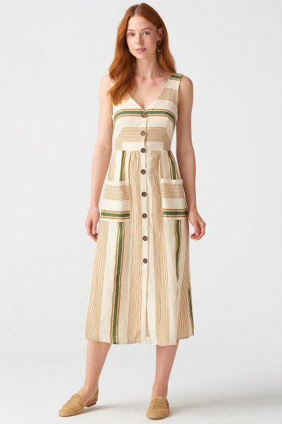 9020 Dilvin Sırt Bağcıklı Cepli Elbise