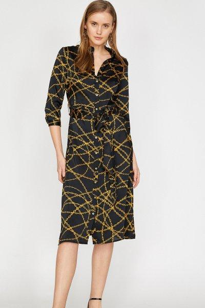 Koton Siyah Desenli Elbise 9yak88238pw