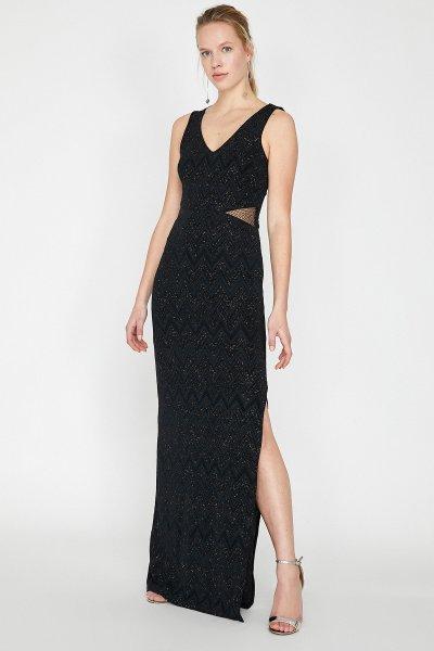 Koton Siyah Desenli Elbise 9yak84716fk