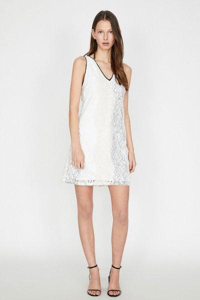 Koton Beyaz Desenli Elbise 9yak84746fk