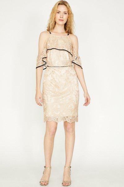 Koton Altın Desenli Elbise 9yak84639fk