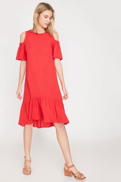Koton Kırmızı Elbise 9yak88887cw