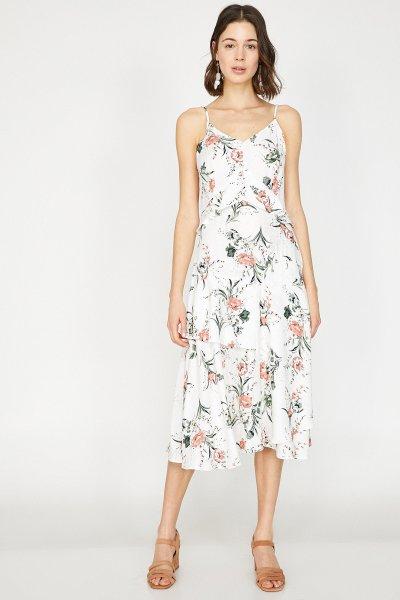 Koton Beyaz Desenli Elbise 9yak88816cw