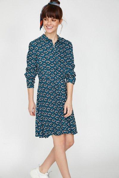Koton Lacivert Desenli Elbise 9yal88135ıw