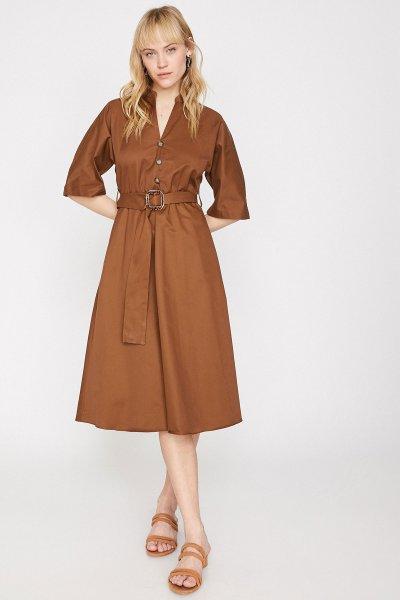 Koton Kahverengi Elbise 9yak88198pw