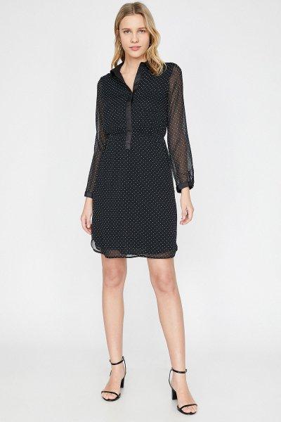 Koton Siyah Desenli Elbise 9yak88796pw
