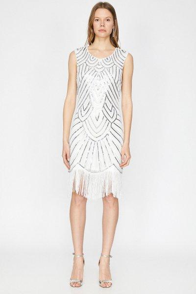 Koton Beyaz Elbise 9yak84634ow