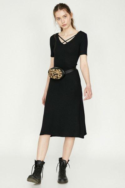Koton Siyah Elbise 9yal88144ık