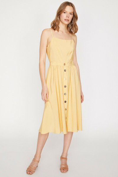 9yak88113pw Koton Sarı Elbise