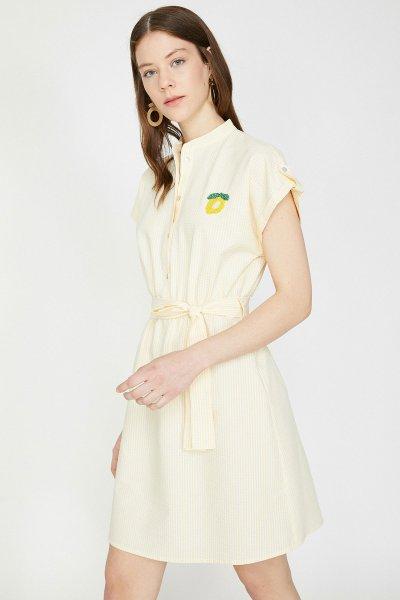 9yak88004pw Koton Sarı Çizgili Elbise