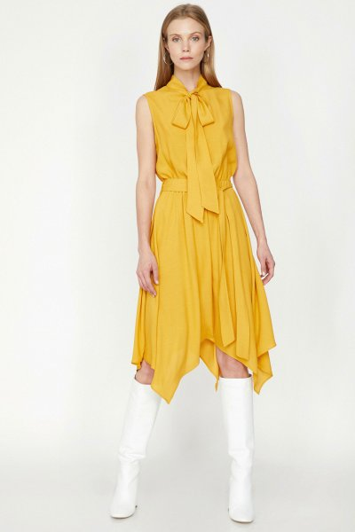 9yak88603cw Koton Sarı Elbise