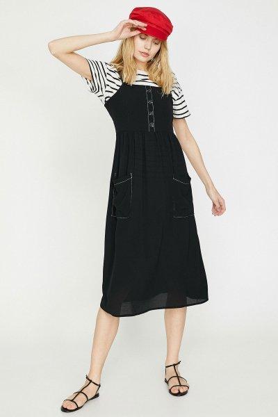 9yak88460pw Koton Siyah Elbise