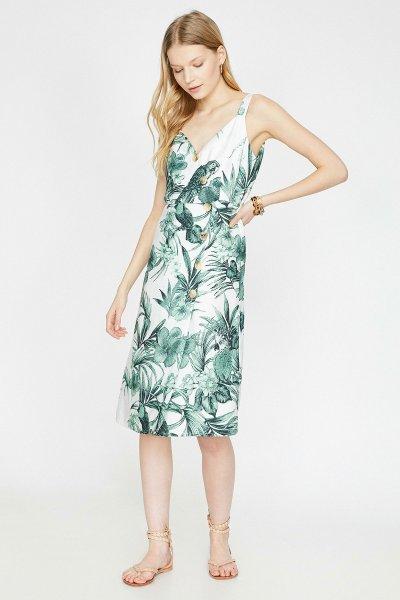 9yak88230pw Koton Yeşil Desenli Elbise