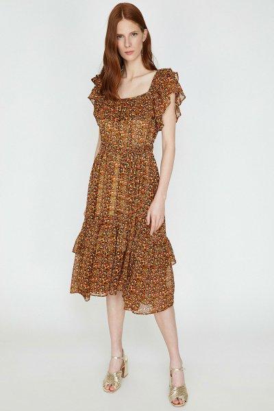 9yak83288ew Koton Kahverengi Desenli Elbise