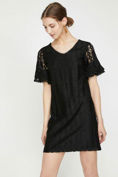 9yak83502ek Koton Siyah Elbise