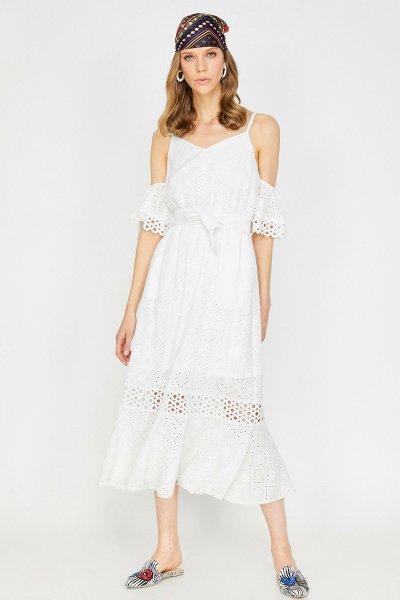Koton Arzu Sabancı Beyaz Elbise 9yak82550uw