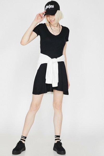 9yal88062ık Koton Siyah Elbise