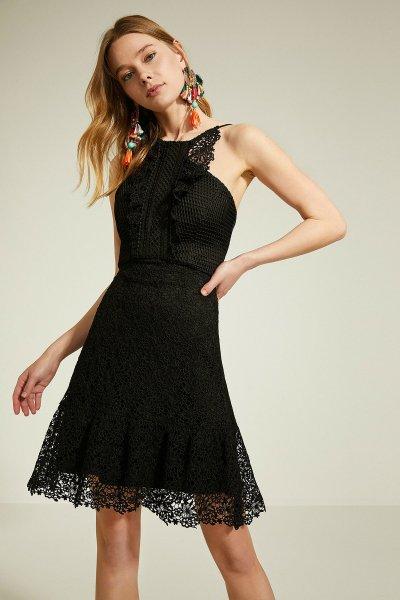 9yak84115zk Koton Siyah Elbise