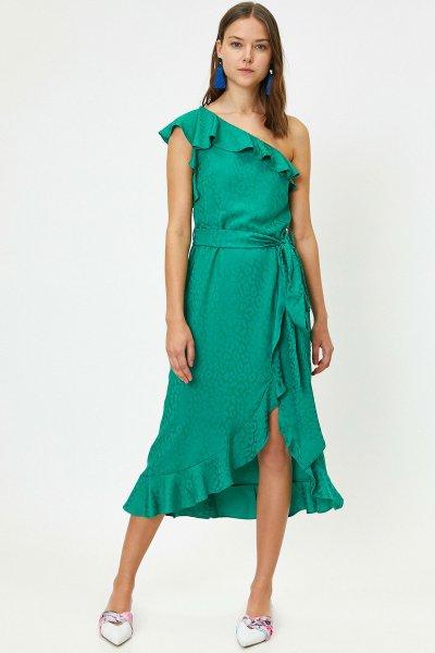 9yak84135zw Koton Yeşil Desenli Elbise