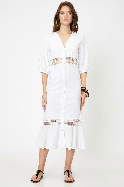 Koton Arzu Sabancı Beyaz Elbise 9yak82575uw