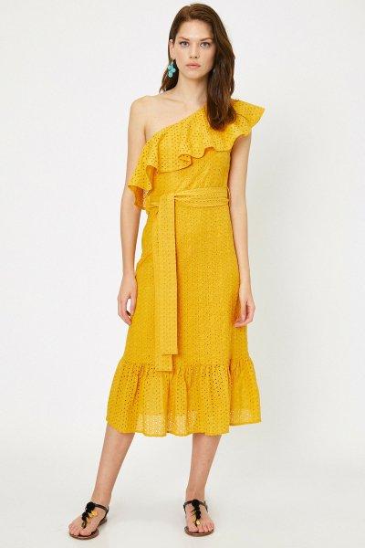 Koton Arzu Sabancı Sarı Elbise 9yak82569uw