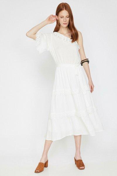 Koton Beyaz Elbise 9yak83311ew