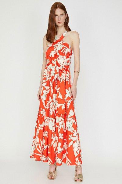 Koton Kırmızı Desenli Elbise 9yak83237ew