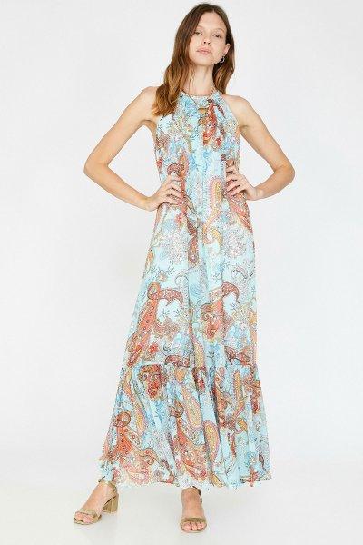 Koton Mavi Desenli Elbise 9yak83067ew