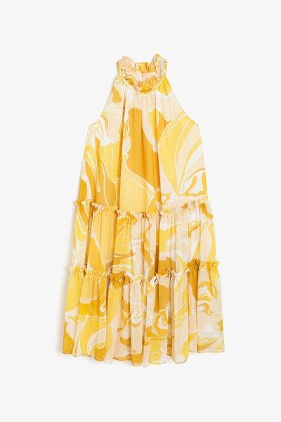 9ykg83289ew Koton Sarı Desenli Elbise