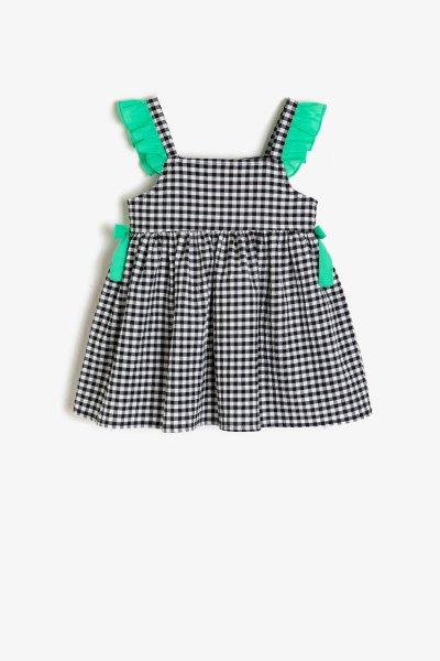 9ymg89080ow Koton Siyah Ekoseli Elbise