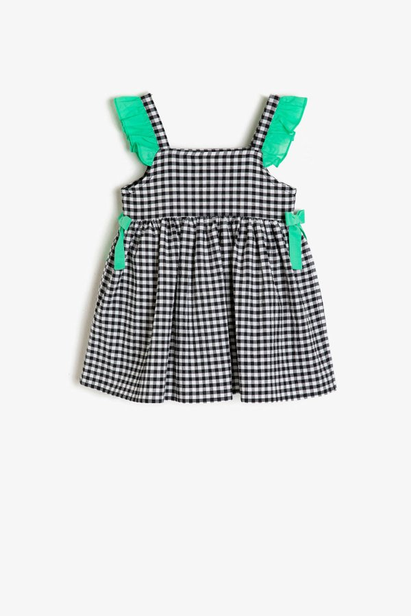 Koton Siyah Ekoseli Elbise 9ymg89080ow