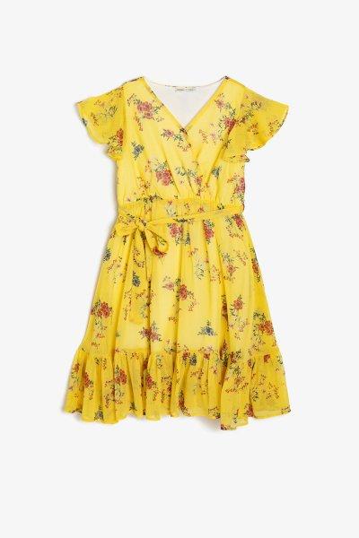 9ykg83278ew Koton Sarı Desenli Elbise