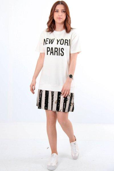 Önü Yazılı Etek Ucu Pul Payet Elbise 23573