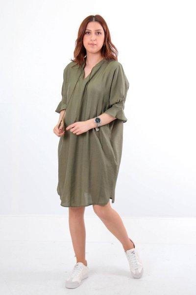 Kolu Volanlı Püskül Bağcıklı Elbise 23732