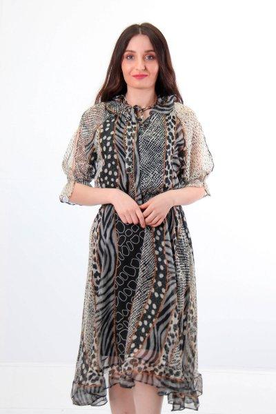Puantiye Detaylı Şifon Elbise 23590