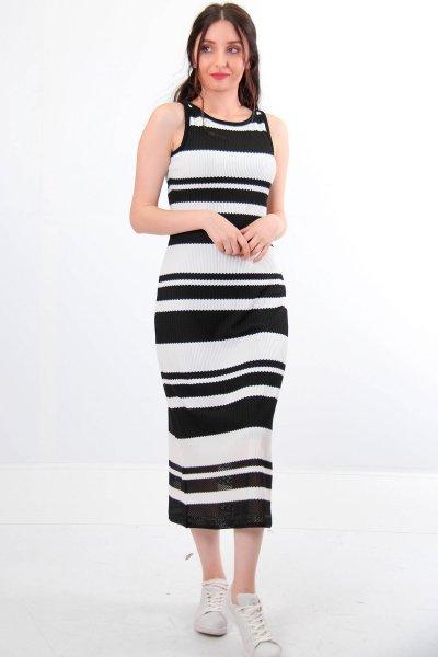 Sıfır Yaka Çizgili Elbise 23591