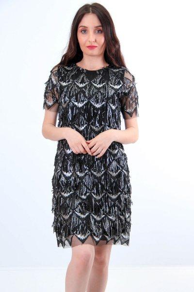 Yuvarlak Yaka Pullu Elbise 23393